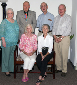 June 13, 2014 – Tullahoma News Partners for Healing honored its emeritus board members and volunteers at its recent meeting. Emeritus members have served on the board for at least 10 years and have opted to step aside to create space for new board members. They are still active in the organization and are available for consultations with the board, but are no longer voting members. In the front row, from left, is Ann Cline, who served on the board from 2000 – 2013 and Linda R. Smith, 2006 – 2013. In the back row are Dot Watson, 2000 – 2013, Don Crownover 2001 – 2013, Dudley Tipps 2005 – 2013, and Don Dixon 2006 – 2013.